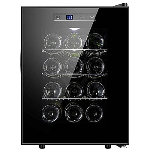Refrigerador De Bebidas, Refrigerador De Compresor De Acero Inoxidable, 11-18 ° C, Control Táctil De Temperatura Ajustable con Pantalla Led, Capacidad para 12 Botellas De Cerveza Y Agua, Dispensador