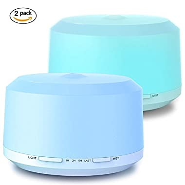 Aromatherapy Diffusers for Essential Oils 2 Pack, 450ml Essential Oil Diffuser and Humidifiers for Large Room with Adjustable Mist Mode, 4 Timer Settings, 8 Colors Light - LUSCREAL