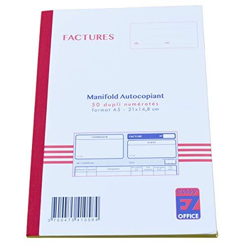 Manfold facturen met btw. Dupli A5 Grootte: 210 x 148 mm / 21 x 14,8 cm Folio 50 vellen, doorschrijvend EZ Office