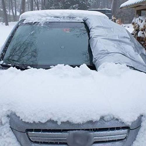 Glumes Magnetic Windshield Cover - Huge Size Fits Any Car, Truck, SUV, Van or Automobile - Keeps Ice & Snow Off - Top Quality Exterior Auto Snow Windshield Cover with Magnetic Edges (L, A) (silver)