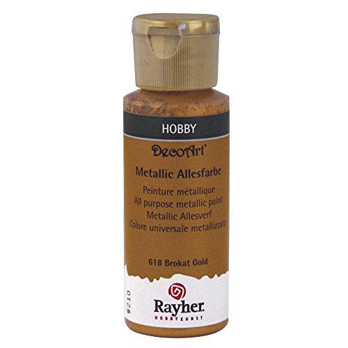RAYHER Uniwersalna farba metaliczna, butelka 59 ml, złoto brokatowe, akryl, 3,4 x 3,4 x 10 cm