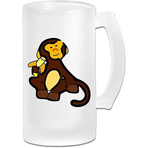 NHJYU Jarra de Cerveza Monkey Clipart Frosted Glass Stein Beer Mug - Personalized Custom Pub Mug- Gift for Your Favorite Beer Drinker