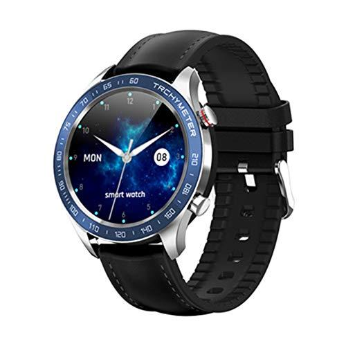 GYY Hombres Negocio Reloj Inteligente Ritmo Cardíaco Presión Arterial Monitor Múltiple Deporte Múltiple A Prueba De Smartwatch Mujeres Aptitud Pulsera (Color : Black Blue)