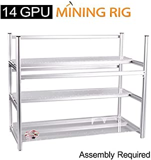 AAAwave 14 GPU Mining Rig Frame - Stackable Open Frame Design Mining Rig Case with Fan mounts - Crypto Currency ETH Coin GPU Miner Chassis. Ethereum/Zcash/Decred