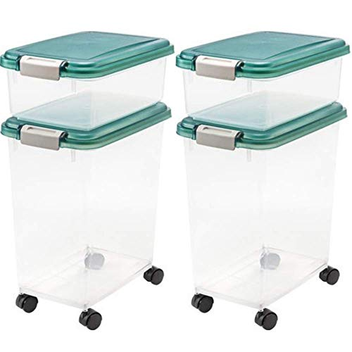 For Sale! IRIS Airtight Pet Food/Treat Storage Container Combo, Green (2 Set, 12-Quart and 33-Quart)