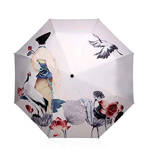 DORRISO Ombrello Pieghevole Donna Sunscreen Ombrellone Carino Mini Leggero Antivento Impermeabile Viaggio Portatile Ombrello Bianca