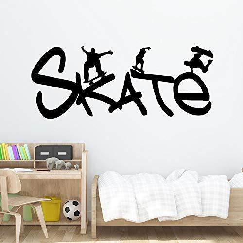 Cartoon Skateboard Wandtattoo PVC Wandbild Poster Wohnzimmer Schlafzimmer Kunst Dekoration Wandaufkleber20cm X 49cm