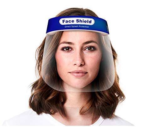 Face Shield 10-Pack, Reusable Transparent Anti-Fog Visor Full Face Safety Cover with Comfort Foam, Adjustable Band to Fit All Sizes, 10-Pack