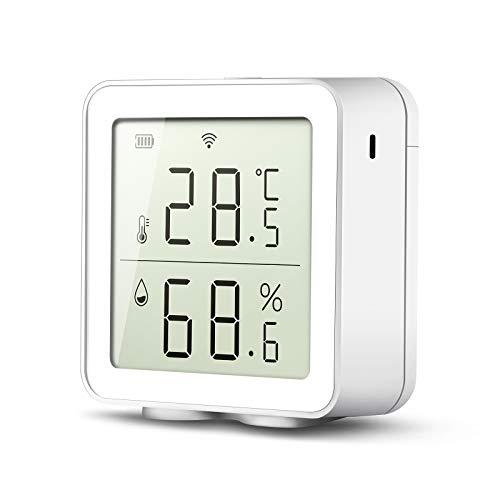 FOXNSK Igrometro di Temperatura Smart WiFi, Sensore di Monitoraggio Igrometro Termometro Compatibile con Alexa Google Home Smart Life/efamily Cloud App Registrazione Storica di 30 Giorni