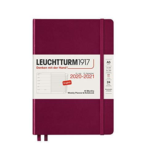 Leuchtturm1917 362141 Wochenkalender und Notizbuch 18 Monate Medium (A5) 2021, Port Red, Englisch