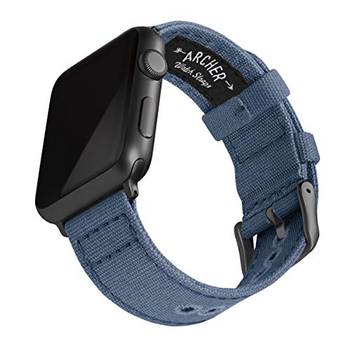 Archer Watch Straps - Canvas Uhrenarmband für Apple Watch (Jeansblau, Space Grau, 42/44mm)
