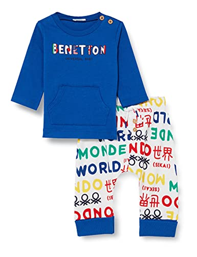 United Colors of Benetton Comp(Maglia+Pant) 3i1xmm284 Pantaln, Camiseta Bluette + pantalón Estampado Multicolor 60 m, 68 cm para Bebés
