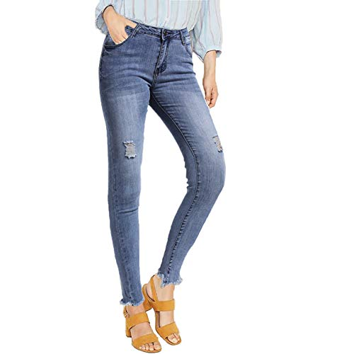 NASKY Womens Ripped Skinny Jeans Distressed High Waisted Slim Fit Denim Stretch Jeans (Blue, 8)