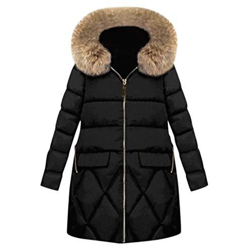 Kanpola Abrigo de Mujer Abrigo de Piel con Capucha Abrigo Largo Chaquetas sólidas Abrigos de Bolsillo