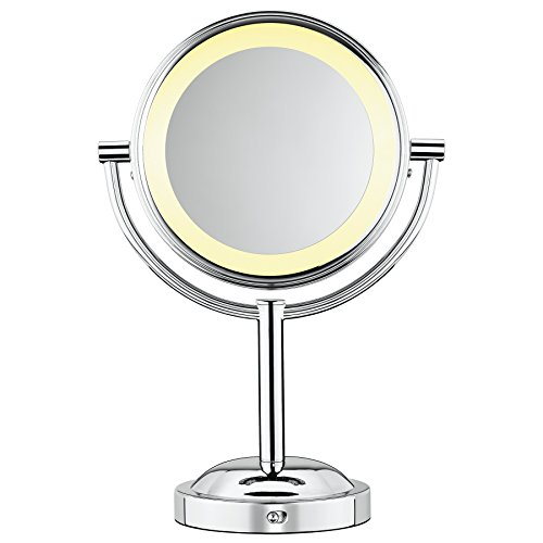 Price comparison product image Conair Double-Sided Battery Operated Lighted Makeup Mirror - Lighted Vanity Makeup Mirror; 1x / 5x magnification; Polished Chrome Finish