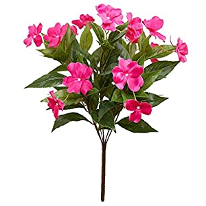 Artificial and Dried Flower 7-Head Artificial Flower Rhododendron Impatiens Bouquet Simulation Floral Decor Home Office Plastic Cloth Fake Flower – ( Color: Rose Red)