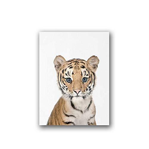 FRTTCYO Poster Nettes afrikanisches Tier Tiger Leinwand Kunstdrucke und Poster Schöne Baby Tiger Cub Foto Leinwand Malerei Wandbild Kinderzimmer Dekor -50x70cmx1 Kein Rahmen