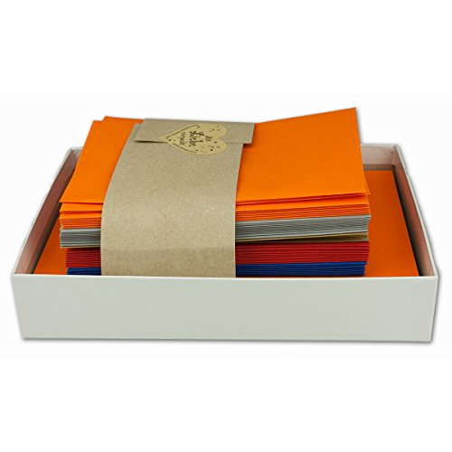 25x Farbige Karten blanko mit Umschlag und Einlegeblättern in DIN B6 - Herbstfarben