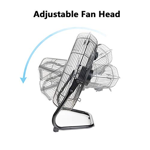 Dawoo 18' Industrial fan 50cm 3 Speed stand fan Powerful 95W High Velocity Floor fan,Fit for workshop, warehouse(Chrome plated)
