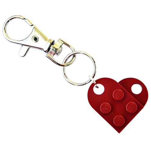 SJP Cufflinks Herz-Schlüsselanhänger von LEGO® (dunkelrot) für Hochzeit, Freundin, Valentinstag, Geburtstag, Damenschmuck, Geschenk