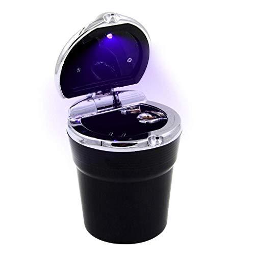 YQG Cenicero de Cigarrillos Cenicero de Coche Cenicero de Oficina en casa con Tapa Cenicero extraíble de luz LED Cenicero de Escritorio para Fumar (Color: Negro)