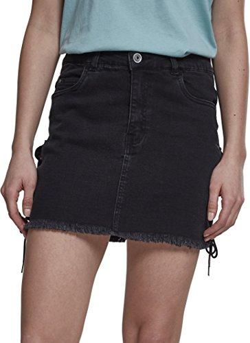 Urban Classics Damen Rock Ladies Denim Lace Up Skirt TB2002, Mini, Einfarbig, Gr. 42 (Herstellergröße: 30), Schwarz (Black Washed 00709)