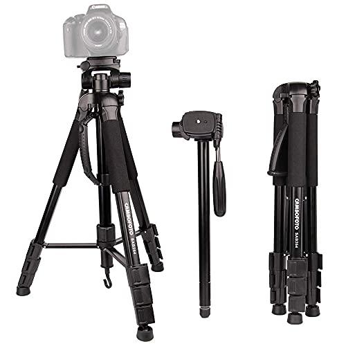 CAMBOFOTO 70  Treppiede Monopiede 2 in 1 - Treppiedi da Viaggio Leggero con Testina Panoramica a 3 Vie e Borsa per Fotocamera DSLR Canon Nikon e Smartphone (Carica: 4KG)
