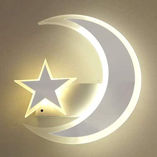 Aplique De Pared Lámpara 7.8'*9.8' LED Dormitorio Junto A La Cama Moderno Acrílico Simple Luces De La Habitación De Los Niños Luces del Pasillo Estrella Cálida Luz Luna Luz Blanca Luz