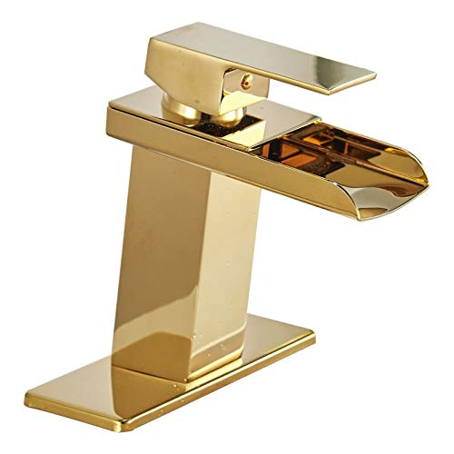 Bathfinesse Brushed Gold Bathroom Faucet Waterfall Brass Faucet Single Handle 1 Hole Modern Commercial Vanity Bath Sink Lavatory Deck Mount