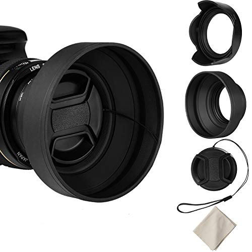55mm Lens Hood Set Compatible with Nikon D3400 D3500 D5500 D5600 D7500 DSLR Camera with AF-P DX 18-55mm f/3.5-5.6G VR Lens, Collapsible Rubber Hood + Reversible Tulip Flower Hood + Lens Cap