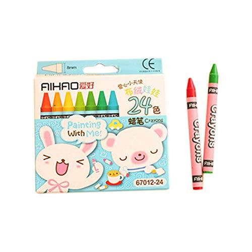 SODIAL Baton de Peinture a l'huile au Crayon Non Toxique pour Dessin Anime creatif 24 Couleurs Crayons Pastel de Dessins pour des Enfants (Couleur de l'emballage aleatoire)
