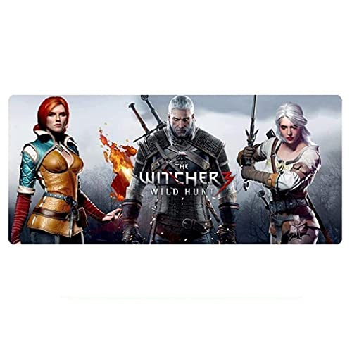CFTGB The Witcher Gaming Mouse Pad Game Alfombrilla grande para teclado de café, alfombrilla extendida para ordenador PC Mouse Pad (tamaño: 600 x 300 x 3 mm)