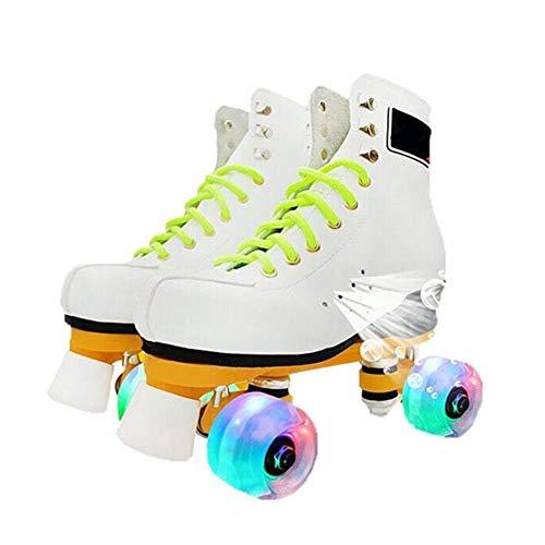 Masskko meisjes jongen schoenen skate LED verlichting quad scooter schoenen sport outdoor training skate turnschoenen kinderen en volwassenen, wit