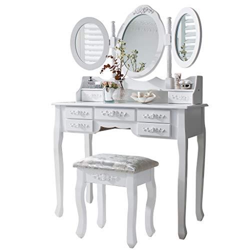 Laura James Monaco White dressing table, stool and mirror set, 7 drawers, 3 mirrors