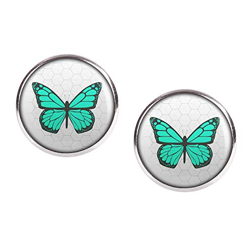 Mylery Ohrstecker Paar mit Motiv Schmetterling Opal Türkis silber 16mm
