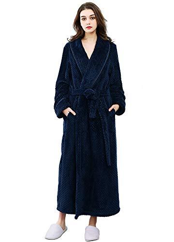 Albornoz de felpa suave para mujer, bata larga de invierno, Azul marino, L-XL
