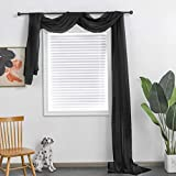 TOAVA DECO Black Sheer Window Scarf Valance for Windows Black Sheer Scarf Curtains 216 Inches Long for Living Room Bedroom Curtain Drapes Wedding Party Canopy Bed 52×216