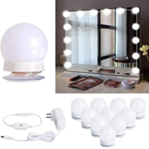 Hollywood Style Led Vanity Mirror Lights Kit with 10 Dimmable Light Bulbs for Makeup Dressing Table, Plug in Lighting Fixture Strip, White (No Mirror Included)