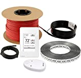 LuxHeat Floor Heating Cable Set 80 Sqft - 120v Electric Radiant Floor Heating System Under Tile. Includes Floor Heating Cable, Strapping and UWG4 OJ Microline WiFi Programmable Thermostat with GFCI