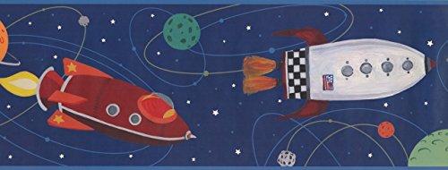 Rocket Spaceship Planets ZB3228BD Wallpaper Border