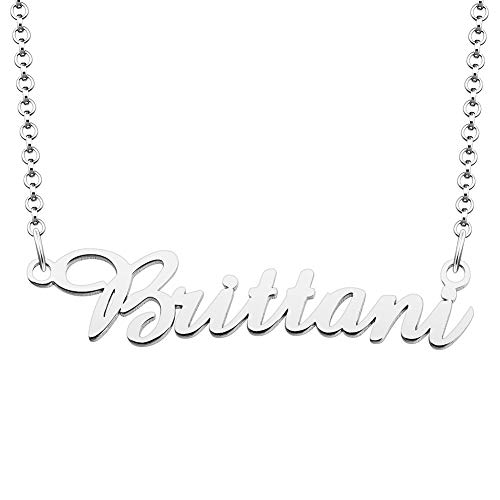 SexyMandala 925 Sterling Silver Personalized Name Necklace Semi-Customized Pendant Jewelry for Brittani