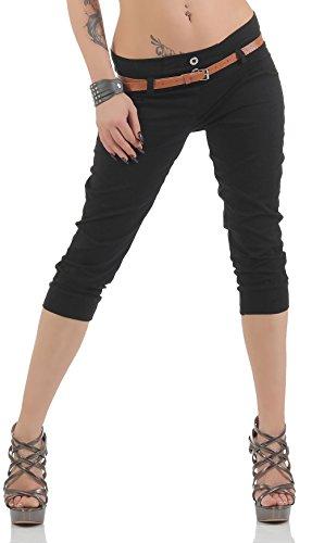 Malito Capri-Pantalones con imitación de Cuero cinturón 5398 Mujer (XL, Negro)
