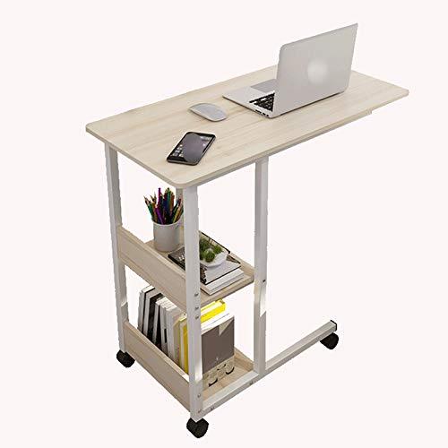 DALIBAI Tablas elevable Sofá lado del extremo Sala Movable escritorio de oficina escritorio del hogar con 4 ruedas mesa en forma de C for el café Snack-portátil tabla de la bandeja lateral for la cama