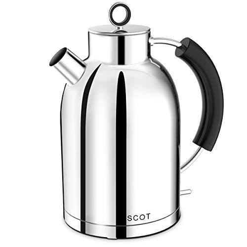Wasserkocher Edelstahl, ASCOT Elektrischer Wasserkessel, 2200 W, 1,6 liter, Retro Design, kabelloser Teekocher, BPA frei, Trockengehschutz, automatische Abschaltung, Gloss