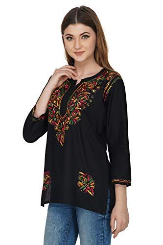 Vahson Women's Festive Embroidered Lucknow Chikan Cotton Short Length Kurti (Black, Medium, 38)