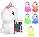 Sweet Ponies Einhorn Lampe - Nachtlicht Einhorn - Silikon Stilllicht - Nachtlicht für Kinder mit Fernbedienung