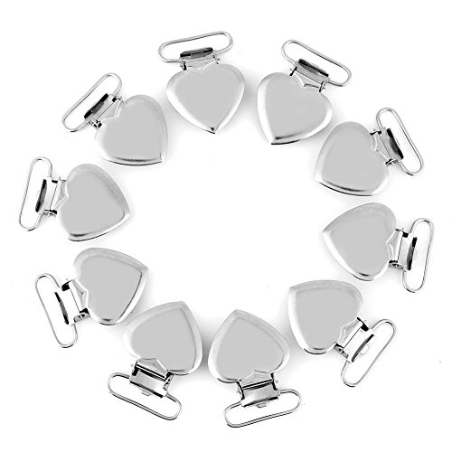 HEEPDD Clips de Liguero para Chupete, 10 Piezas de Metal Plateado en Forma de corazón Sujetador de Sujetadores de Sujetador para Baberos y Juguetes