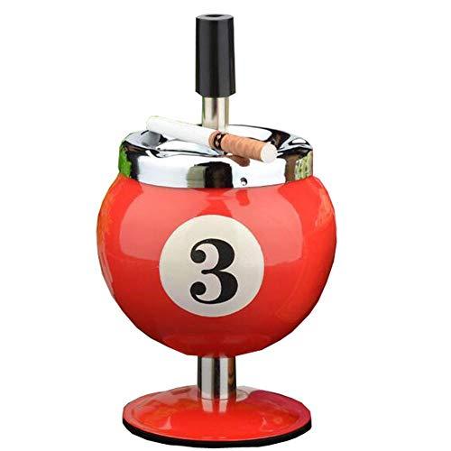 L'MiracleHome Drücken Sie den Zigarettenaschenbecher in Form eines Billiards ohne Räucheschale aus unedlem Metall, geeignet für den Innen- oder Außenbereich, Rot