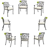 Made for us® 8 Alu Gartenstühle, aus wetterfestem Alu-Guss, Garten-Stuhl mit UV beständiger AkzoNobel Einbrennlackierung. Inkl. waschbaren Sitzkissen. Platzsparend stapelbar. (8 Gartenstühle)