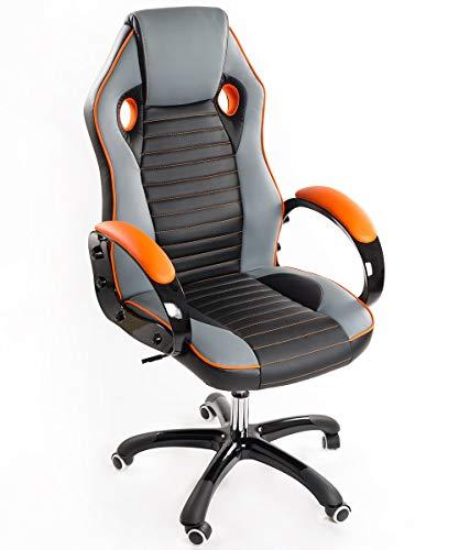 Sedia Poltrona Presidenziale Da Gaming Ufficio in Eco Pelle Bozzini Sport Racing Arancione